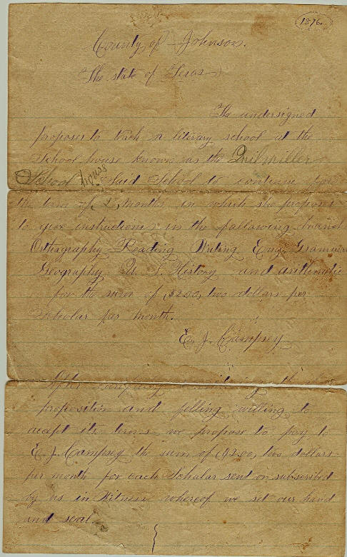 Emma Jessie Campsey's contract to teach school